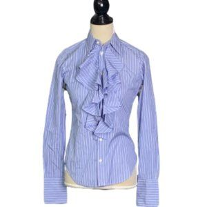 Polo RALPH LAUREN Blue Pin Striped Ruffled Front 4